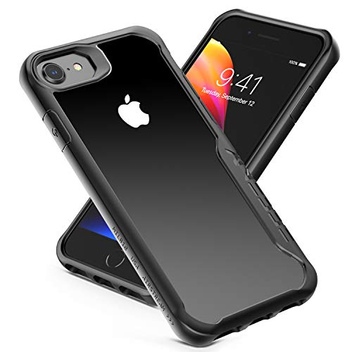 iPhone 6 / 6S / 7/8 Case, Shock-Absorption Case Heavy Duty Protection Cover Scratchproof Case, Reinforced Rubber Soft TPU Bumper Clear Hard PC Shockproof Back Cover for iPhone 4.7 (Black Clear)