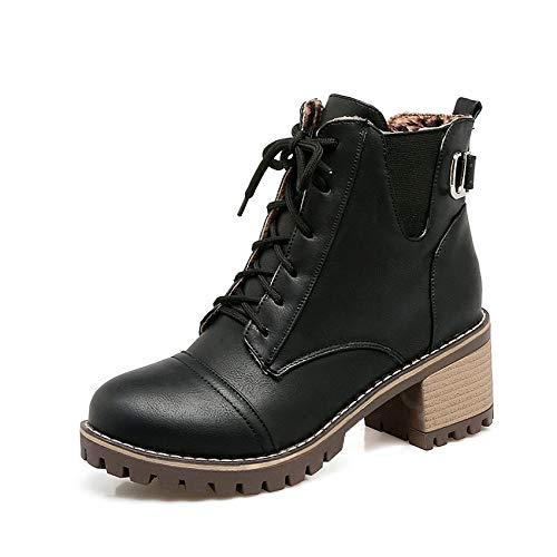 HOESCZS 2019 Frauen Stiefeletten Lace Up Platz High Heel Damen Schuhe Westrn Stil Pu Leder Mode Frauen Stiefel Größe 34-43