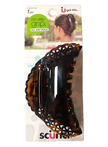 (Scunci No-Slip Grip Decorative Lacey Claw Clip, Dark Brown/Black, Large, 1 Pound)