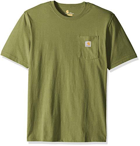 Carhartt Men's Big K87 Workwear Pocket Short Sleeve T-Shirt (Regular and Big & Tall Sizes), Oil Green Heather, X-Large/Tall