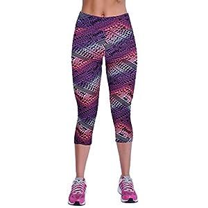 Women's Active Workout Capri Leggings Shorts Stretchy Tights(Purple stripe,M)