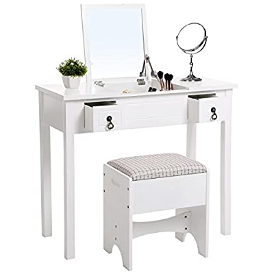 SONGMICS Vanity Makeup Table with Lotus Shaped Mirror Dressing Table Cushioned Stool