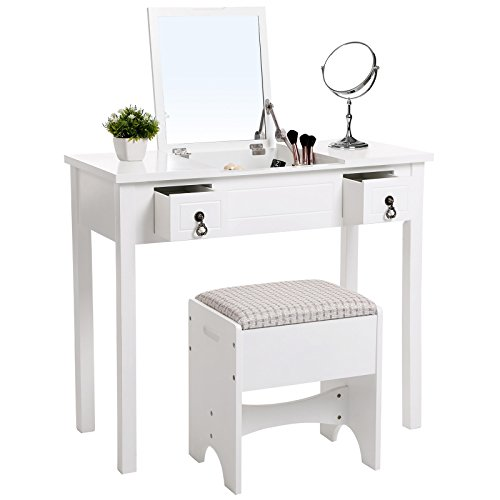 SONGMICS Vanity Set with Flip Top Mirror Makeup Dressing Table Writing Desk with 2 Drawers Cushioned Stool 3 Removable Organizers Easy Assembly White URDT01M by SONGMICS