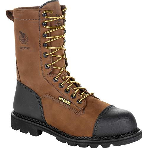 Georgia Boot Drill Dog Steel Toe Metatarsal Work Boot Black and Brown ()