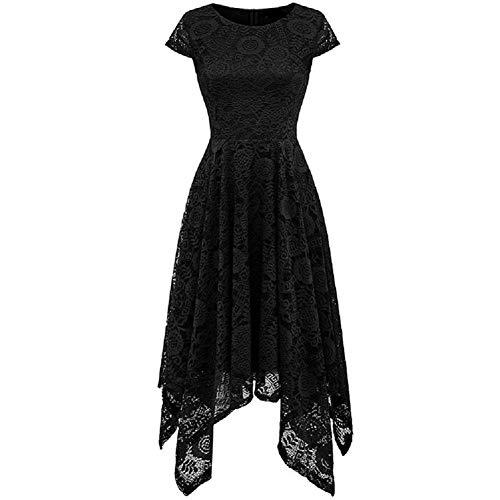 Women's Elegant Floral Short Sleeves Lace Rounded Neckline Asymmetrical Hanky Hem Cocktail Party Dress (Black, M)
