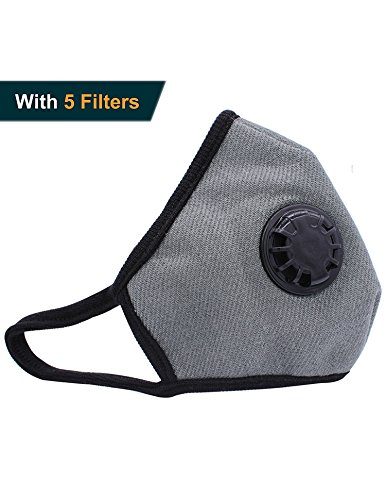 Haze Green - Grade N99 Anti-pollution Mask Washable Cotton Respirator with Replaceable Filters (5Pcs) for Paint Dust Mold, Anti-Haze, prevent infection and Keep Warm (Green)