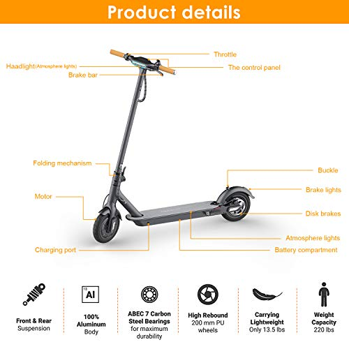 """TOMOLOO Electric Scooter with Foldable Design, 18.6 Miles Long-Range, Up to 15.5 MPH, Commuting Scooter, Portable E-Scooter with 8.5"""" Air Filled Tires, Cruise Control"""