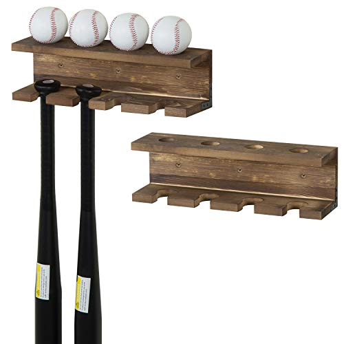 MyGift Burnt Wood Wall-Mounted Baseball Bat Rack and Ball Storage Shelf, Set of 2