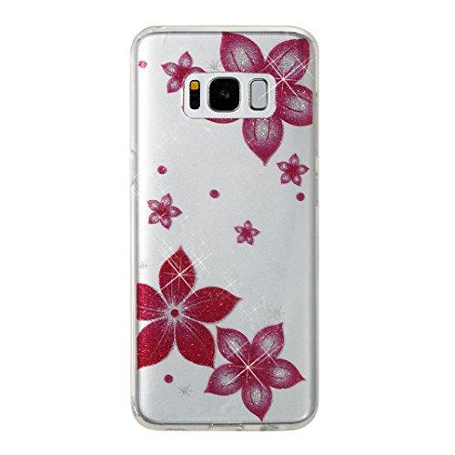 Funda Galaxy S8 Plus, Carcasa Galaxxy S8 Plus, Moon mood Brillar Bling Caso Piel del Teléfono Suave TPU Silicona Estuche Ultra Delgado Cubierta Trasero Protective Parachoque para Samsung Galaxy S8 Plu Flor Rosa