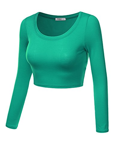 J.TOMSON Women¡¯s Basic Round Neck Long Sleeve Crop Top GREEN S