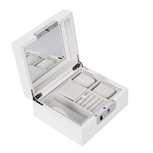 BUBM Fingerprint Jewelry Box Organizer Safe Fingerprint Jewelry Lock Box 2-Layer Display Storage Case with Key,Fingerprint Sensor,Mirror(White)