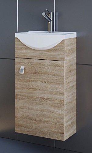 Planetmöbel Waschbecken Mit Waschbeckenunterschrankwaschtisch Unterschrank 44cm Gäste Bad Wc Sonoma Eiche
