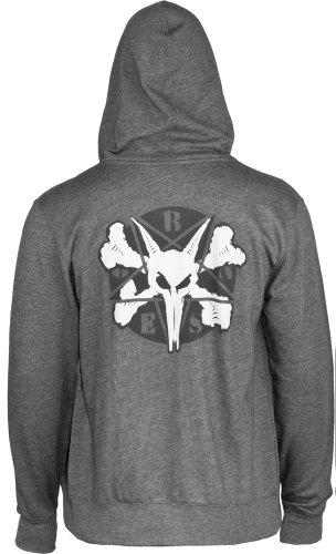Knochen Rollen Pentagramm II Terry Zip Kapuzen Sweatshirt (grau)