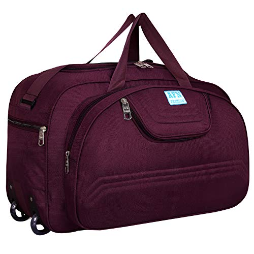 AFN FASHION Polyester Lightweight 60 L Luggage Travel Duffel Bag with 2 Wheels Purple