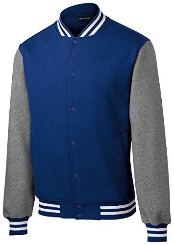 Sport-Tek Mens Fleece Letterman Jacket (ST270) -True Royal -M