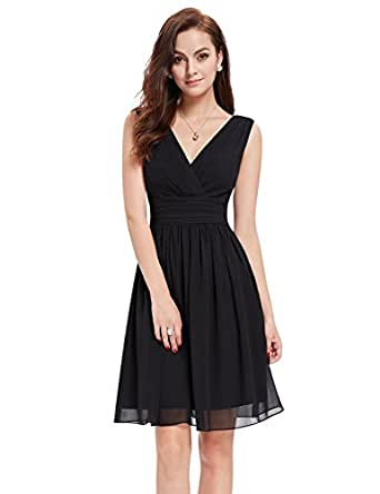 Ever Pretty Womens Double V Neck Ruched Waist Short Party Dress 4 US Black