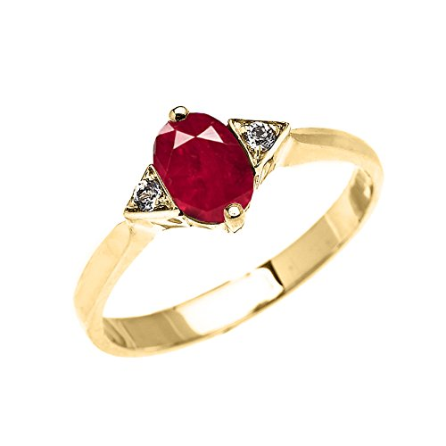 (Modern Contemporary Rings Fine 10k Yellow Gold Solitaire Ruby and White Topaz Proposal/Engagement Ring (Size 7))