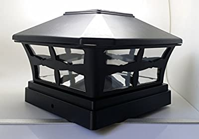 "12 Piece Solar BLACK FINISH Post Deck Fence Cap Lights for 5"" X 5"" Vinyl/PVC or Wood Posts With White LEDs and Clear Lens"