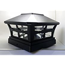 "6 Piece Solar BLACK FINISH Post Deck Fence Cap Lights for 5"" X 5"" Vinyl/PVC or Wood Posts With White LEDs and Clear Lens"