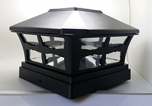 1 Piece Solar BLACK FINISH Post Deck Fence Cap Lights for 5'' X 5'' Vinyl/PVC or Wood Posts With White LEDs and Clear Lens by Ntertainment House