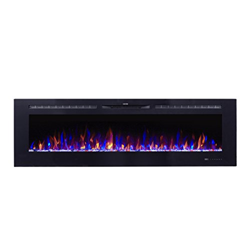 Flameline Dannis 72″ 750W/1500W, in-Wall Recessed Electric Fireplace Heater w/Touch Screen Panel