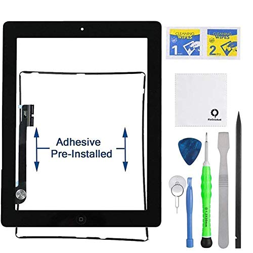 Fixcracked Touch Screen Replacement Parts Digitizer Glass Assembly for Ipad 4 + Professional Tool Kit (Black) (4 Replacement Screen Ipad A1458)