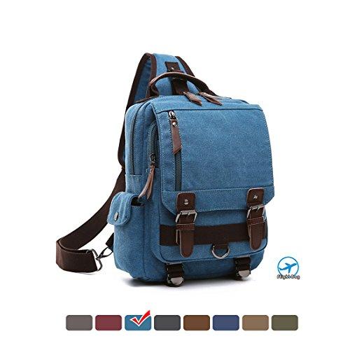 MEWAY Canvas Cross Body Messenger Bag Shoulder Sling Backpack Travel Rucksack Lake - Shopping Lake Side