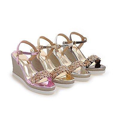 LvYuan Tacón Cuña Plataforma-Zapatos del club-Sandalias-Vestido Informal Fiesta y Noche-Semicuero-Rosa Plata Gris Oro Pink