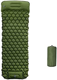 Inflatable Camping Sleeping Mattress with Pillow,Portable Single Air Bed Pad with Foot Pump,Ultralight Foldabl