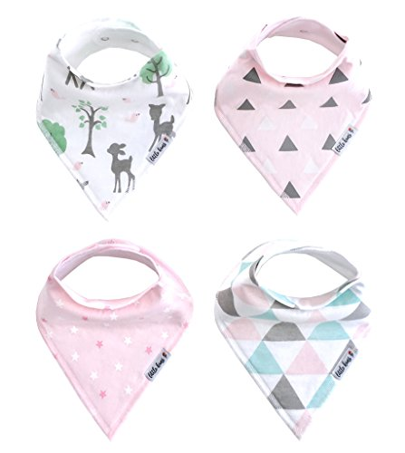 Organic Drool Bibs, Baby Bandana Drool Bibs, Unisex Baby Gifts for Boys and Girls, 4-Pack by Little Kims (Enchanted Forest)