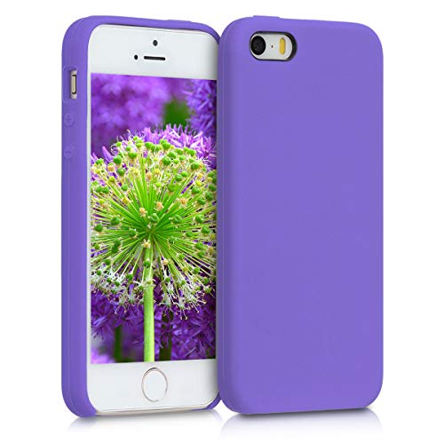 (kwmobile TPU Silicone Case for Apple iPhone SE / 5 / 5S - Soft Flexible Rubber Protective Cover - Blue Iris)