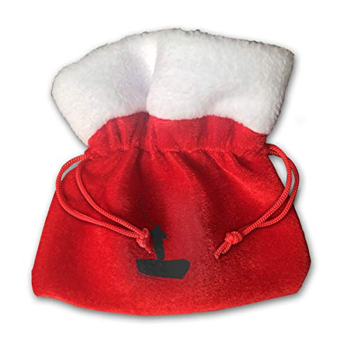 NRIEG One Person Fishing Hook Christmas Candy Bags Santa Claus Gift Treat Sacks with Drawstring Xmas Stocking Ornaments Decor Handbag