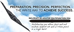 SKILCRAFT B3 Aviator Multi-function Pen Black/Red Ink, Medium Point with Pencil (7520-01-564-9906)