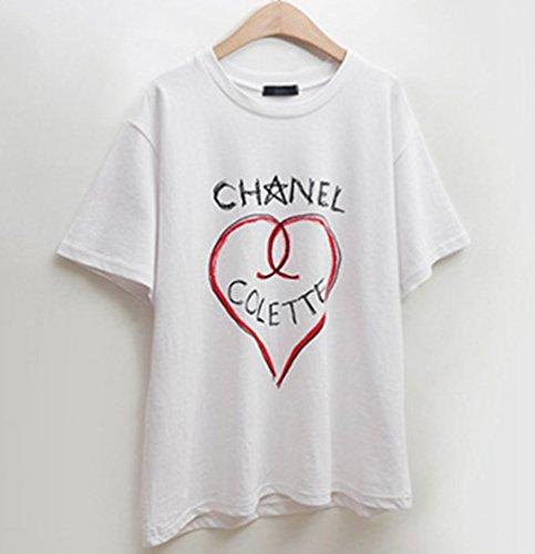 Taglia Elegante shirt Grossa Tempo Blusa Bianco Libero Camicia Donna T Tops Heheja Stampa 5xnqYwHZI