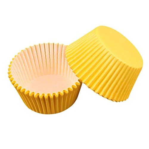 Yellow Cupcake Liner, 100pacK Cake Decorating Supplies, Cupcake Wrappers Cupcake Liners cut Cupcake Papers cupcake cups for Wedding/Birthday Party Decoration Home Decor Clearance -
