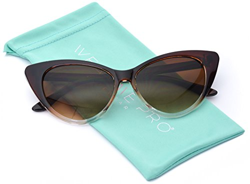 Super Cateyes Vintage Inspired Fashion Mod Chic High Pointed Cat-Eye Sunglasses - Cat Brown Eye Sunglasses