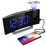 Alarm Clocks, [ Updated Version ] Mpow FM Projection Alarm Clock with Dual Alarms, Digital Ceiling Clock with USB Charging Port, Snooze Function, 5-inch LED Display with Dimmer, Sleep Timer-Blue