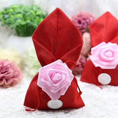 EVEYYTG 50 unids/Lote Boda Caja de Dulces Bolsa de Lino Creativa Mariage Bautizo cumpleaños Caja de Chocolate Bolsas de Regalo y Suministros de Embalaje, Rojosin Dulces, L