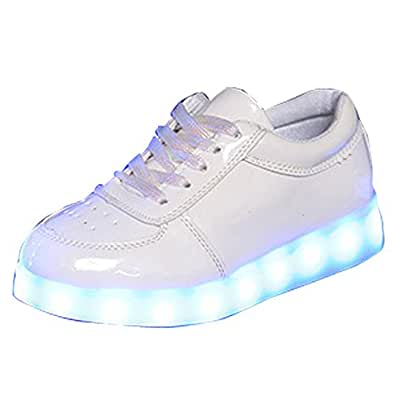 Unisex Kid Classic LED Light Luminous Sneakers Breathable Sports Shoes Lace up