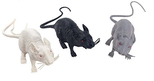 13 Inch Black Gray White Rats With Scary Red Eyes 3