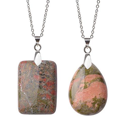 Lullabb Unakite Stone Couple Necklace Jewellery Women Teardrop Crystal Pendants Rectangle Gemstone Chakra Healing Pendant Jewelry ()