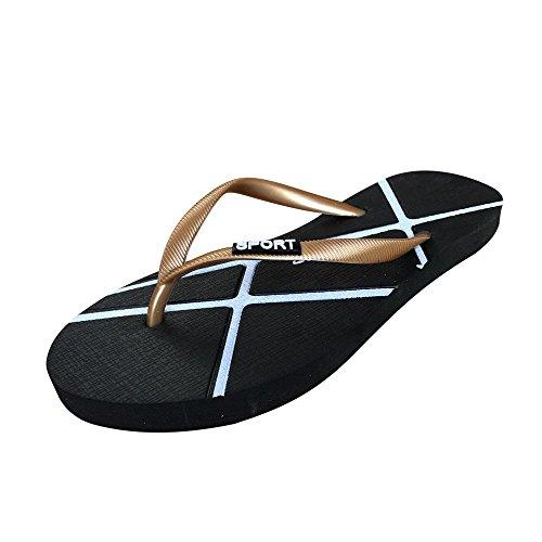 Zapatillas Zapatos Hombres Unisex del Oro Flip ALIKEEY Sandalias De Flops Mujeres Verano Ocio 1H0SqxxwT