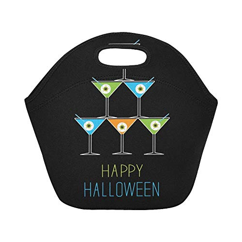Insulated Neoprene Lunch Bag Martini Glasses Pyramid Happy Halloween Card Large Size Reusable Thermal Thick Lunch Tote Bags For Lunch Boxes For Outdoors,work, Office, School -