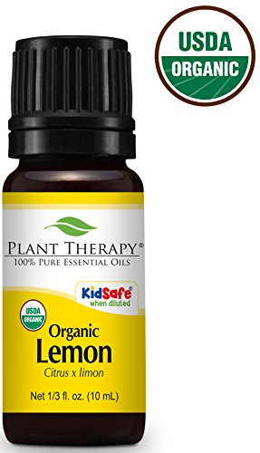 Plant Therapy USDA Certified Organic Lemon Essential Oil. 100% Pure, Undiluted, Therapeutic Grade. 10 ml (1/3 ()
