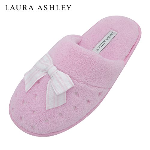 Pink Bow Slippers Scuff Laura Embroidered Terry Ashley Ladies Dots Soft wn86fz