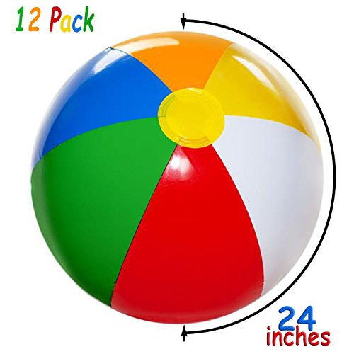 Bulk Large 24-inch Inflatable Beach Balls Pack of 12 Summer Beach & Pool Party Supplies, Beach Ball for Kids Toddlers Boys Girls, 4E's Novelty by 4E's Novelty