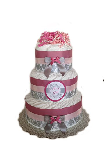 Classic Pastel Baby Shower Diaper Cake (3 Tier, Damask Pink) (Girl 3 Tier Diaper Cake)