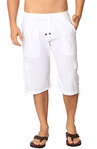 Cotton Natural Bermuda Shorts Long Cargo Summer Beach Cruise Shorts (2XLarge, - Casual Short Cotton