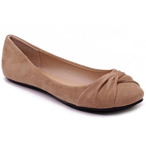 Ollio Women's Shoe Twist Decorative Ribbon Faux Suede Ballet Cute Comfort Flat (9 B(M) US, Beige) (Faux Ribbon Suede)