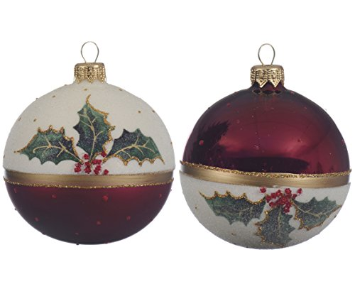 Luxury Set of 2 Large Holly Berry Design Round Glass Christmas Tree Baubles Xmas Decorations with Glitter Detail - Dark Red, White, Green & Gold - 8cm